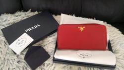 Červená kožená peněženka Saffiano kůže Prada nová