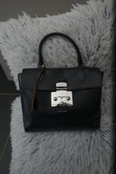 Černá kožená kabelka Furla s hnědým lemováním nová