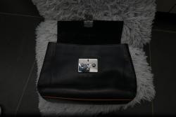 Černá kožená kabelka Furla s hnědým lemováním nová (1603456570/4)