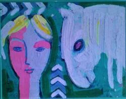 Jaroslav Blažek, Bílý kůň, olej na desce, 40x52 cm