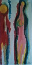 Jaroslav Blažek, Mlčení, olej na plátně, 135x70 cm