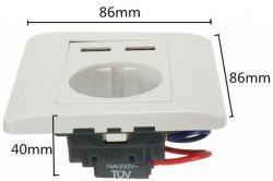 Zásuvka 220V pod omítku + 2x USB (1616787689/4)
