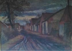 Jaroslav Blažek, Kostické stodole, olej na plátně,