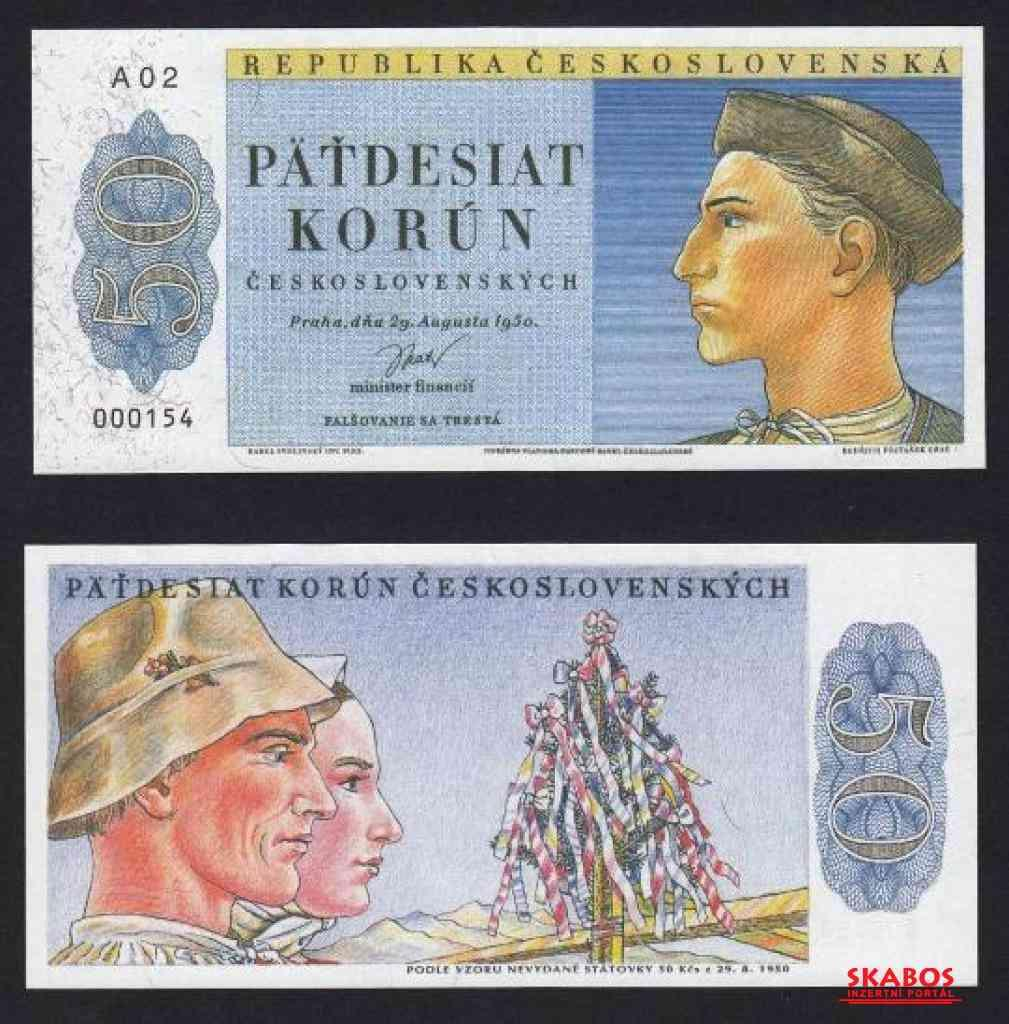 Nevydaná bankovka 50 korun 1950 Jánošík, stav UNC (1/2)