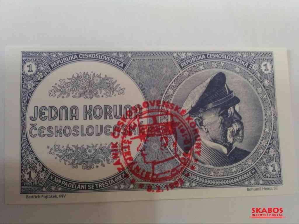 Prodám nevydanou bankovku 1 mobilizační koruna,UNC (1/4)