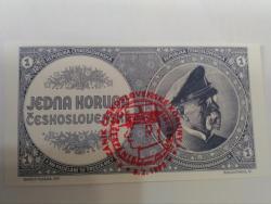 Prodám nevydanou bankovku 1 mobilizační koruna,UNC