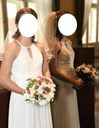 Svatební šaty splývavé, jednoduché, šněrovací (1629371168/9)